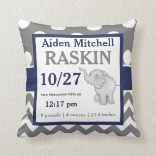 Gray Navy Elephant Baby Announcement Pillow at Zazzle
