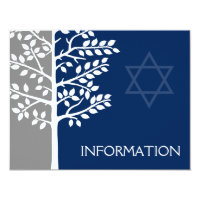 Gray Navy Tree of Life Bar Mitzvah Information Card