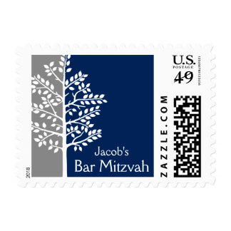 Gray Navy Tree of Life Bar Mitzvah Postage