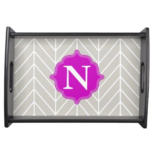 Gray + Neon Purple Monogram Herringbone Tray