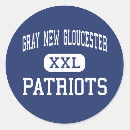 Gray New Gloucester - Patriots - High - Gray Maine Classic Round Sticker