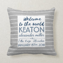 Gray Nursery Baby Boy Birth Stats Typography Throw Pillow