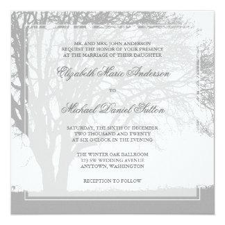 Gray Oak Tree Winter Wedding Card