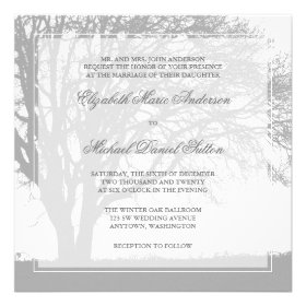 Gray Oak Tree Winter Wedding Custom Announcement