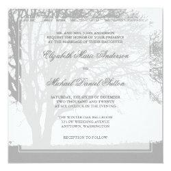 Gray Oak Tree Winter Wedding 5.25x5.25 Square Paper Invitation Card