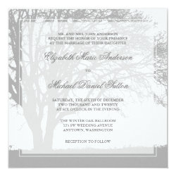 Gray Oak Tree Winter Wedding 5.25x5.25 Square Paper Invitation Card