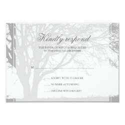 Gray Oak Winter Wedding Response Card 3.5