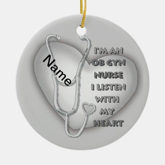 Gray OB GYN Nurse Ceramic Ornament