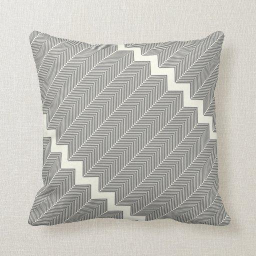 Gray & Off White Arrow Herringbone Pattern Throw Pillow Zazzle