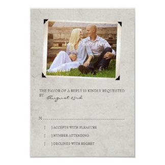 Gray Old Photo Album Page Wedding rsvp Card