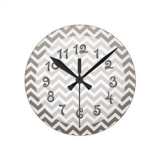Gray Ombre Chevron Round Clock