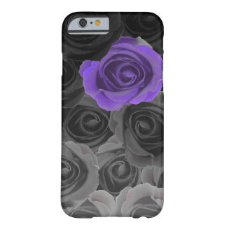 Gray Ombre Roses with Violet Accent Barely There iPhone 6 Case