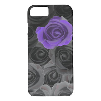 Gray Ombre Roses with Violet Accent iPhone 8/7 Case