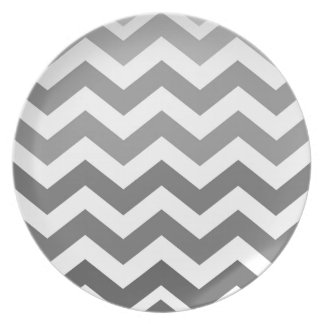Gray Ombre Zigzags Dinner Plate