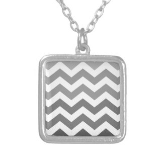 Gray Ombre Zigzags Silver Plated Necklace