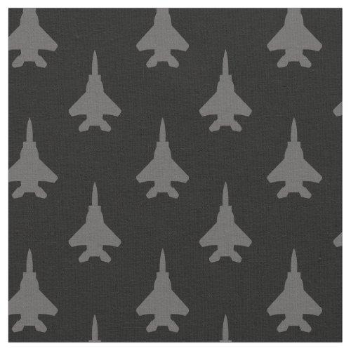 Gray on Black F_15E Fighter Jet Pattern Fabric