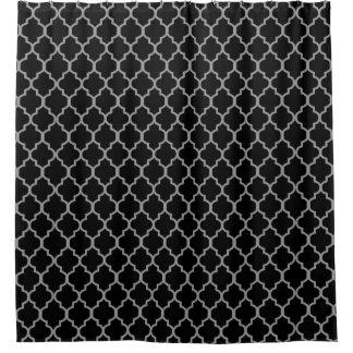 Gray on Black Quatrefoil Custom Background Color Shower Curtain