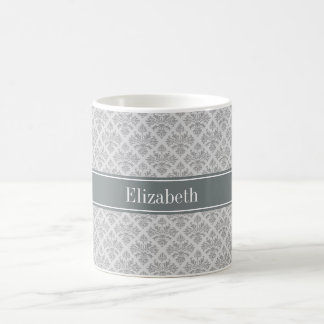 Gray on Gray Damask #3 Charcoal Name Monogram Coffee Mug