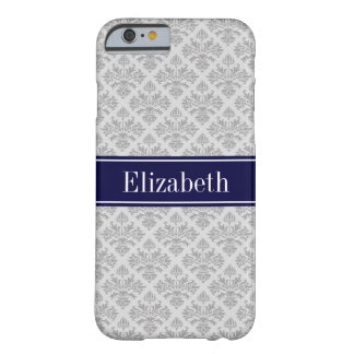 Gray on Gray Damask #3 Navy Blue Name Monogram Barely There iPhone 6 Case
