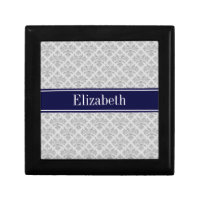 Gray on Gray Damask #3 Navy Blue Name Monogram Gift Box