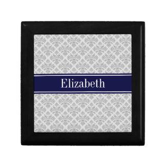 Gray on Gray Damask #3 Navy Blue Name Monogram Gift Box