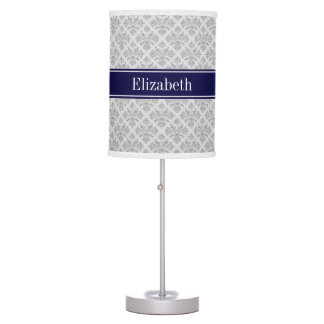 Gray on Gray Damask #3 Navy Blue Name Monogram Table Lamps