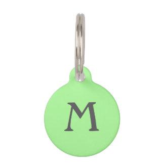 Gray on Green Monogram Pet ID Tag