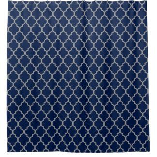 Gray on Navy Blue Quatrefoil Custom Background Shower Curtain