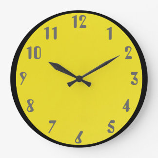 Gray on Yellow Large Clock