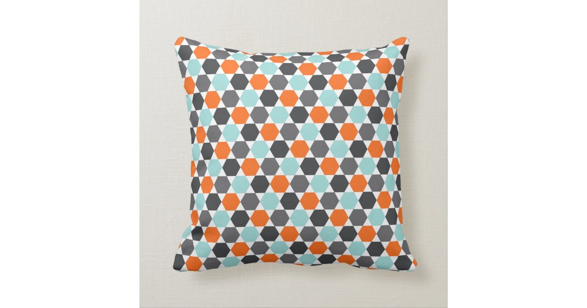 Throw Pillows Aqua Blue : Gray orange aqua blue geometric hexagon pattern throw pillow Zazzle