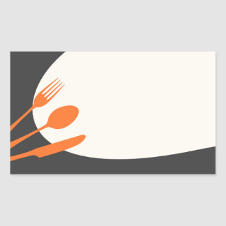 Gray orange blank modern canning baking kitchen rectangular sticker