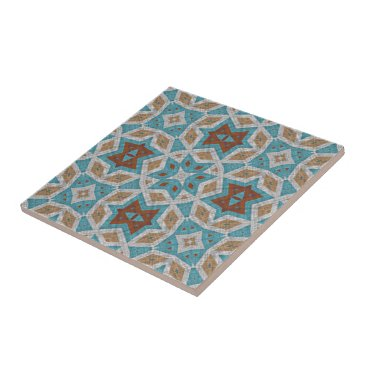 Aztec Themed Gray Orange Brown Turquoise Ethnic Pattern Art Tile