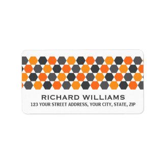 Gray orange hexagon border return address address label