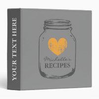 Gray orange mason jar kitchen recipe binder book