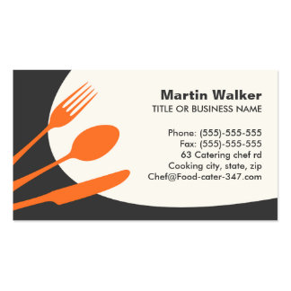 Gray orange modern catering or chef business card