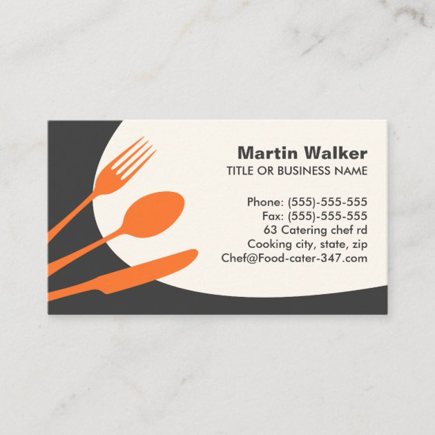 Chef Restaurant Cutlery Personalized Business Cards