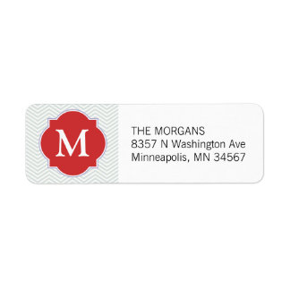 Gray & Orange Modern Chevron Custom Monogram Label