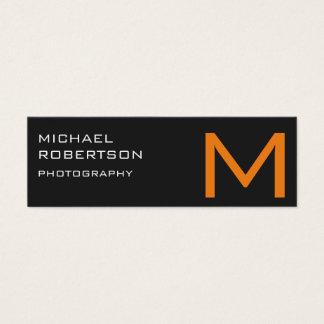 Gray Orange Monogram Photographer Business Card