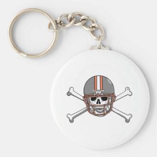 Gray Orange Skull & Bones Keychain