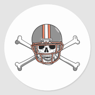 Gray Orange Skull & Bones Classic Round Sticker