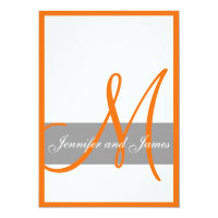 Gray Orange Wedding Invitation | Monogram Names