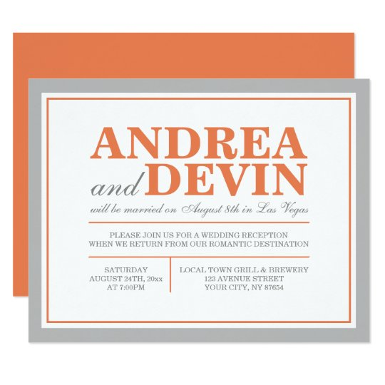 gray orange wedding reception only invitations zazzle com