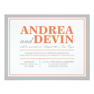 "Gray & Orange Wedding Reception ONLY Invitations 4.25"" X 5.5"" Invitation Card"