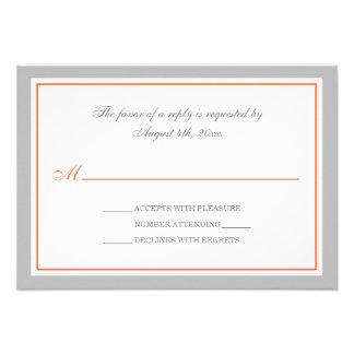 Gray Orange Wedding Reception RSVP Cards