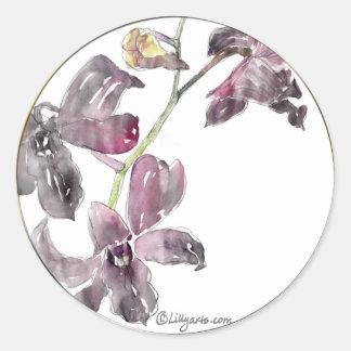 Gray Orchid Wedding Envelope Seals Classic Round Sticker