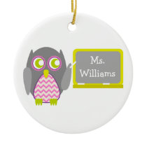 Gray Owl Pink Chevron Teacher At Chalkboard Ceramic Ornament