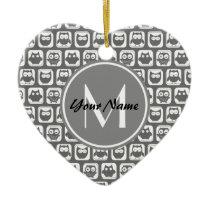 Gray Owls Pattern Custom Monogram, Personalized Ceramic Ornament