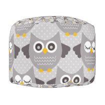 Gray Owls Pouf