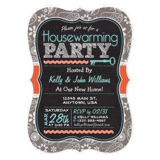Gray Paisley; Chalkboard Housewarming Party 5x7 Paper Invitation Card