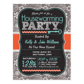 Gray Paisley; Chalkboard Housewarming Party Postcard